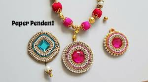 make necklace pendant images How to make paper pendant for silk thread necklace paper base jpg