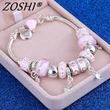 bracelet beads silver images Zoshi pink crystal charm silver bracelets bangles for women with jpg