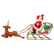 general foam plastics illuminated santa sleigh and reindeer