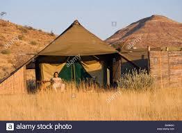 desert tent safari damara land namibia africa desert tent c stock photo
