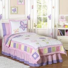 butterfly girls bedding girls bedroom bedding set with white pink ruffles comforter and