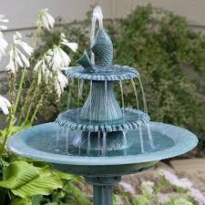 alpine bird bath fountain with fish hayneedle