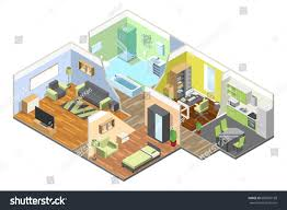 modern kitchen and bedroom 3d interior modern house kitchen living stock vector 686987188