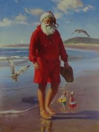 Nautical Themed Christmas Cards - the day after christmas santa relaxes on the beach while elves