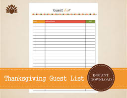 thanksgiving guest list thanksgiving planner printable and