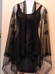 black mesh sheer cape with black lace by marchsevenstudios on zibbet