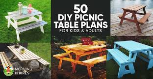 Plans For Picnic Table Bench Combo by 50 Free Diy Picnic Table Plans For Kids And Adults