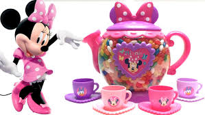 minnie mouse tea play rainbow dipping dots surprise eggs