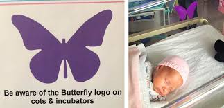 if you notice a purple butterfly above a newborn at the hospital
