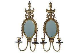 Sconces Decor Oval Pair Of Brass Mirror Wall Sconces Sold But See Decor Page For