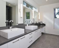 long wall sconces bathroom modern with clerestory contemporary