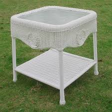 white wicker side table international caravan white wicker glass top side table free