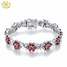garnet bracelet silver images Hutang 7 7ct natural garnet solid 925 sterling silver link flower jpg
