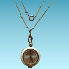 necklace watch vintage images Vintage bucherer enamel pendant watch on art deco gold filled jpg
