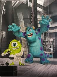 halloween street background this painting depicts sully as frankenstein u0027s monster u0026 mike