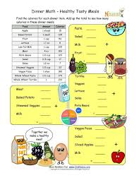 calorie count math worksheet for elementary school children