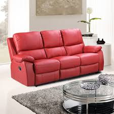 Reclinable Sofa by Cameo Vibrant Red Leather Fully Reclining Sofa Collection