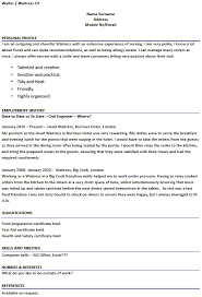 Waitress Resume Template Waiter Waitress Cv Exles Forums Learnist Org