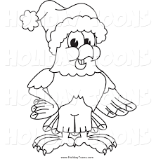 royalty free holiday cartoon of a black and white bald eagle hawk