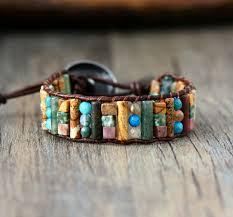 leather wrap bracelet with stones images Tube shape natural stones single leather wrap bracelet semi jpg