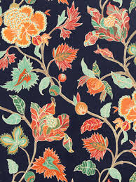Mint Green Upholstery Fabric Contemporary Navy Blue Orange Floral Linen Upholstery Fabric
