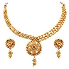 gold plated bead necklace images Jfl gold with red stone gold plated gold beads red stone jpg