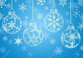 christmas ornaments with snow flakes on blue background stock