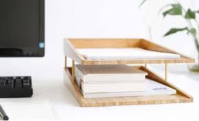 Bamboo Desk Organizer Bamboo Multi Tier Desk Organizer Tray Letter File Holder Feelgift