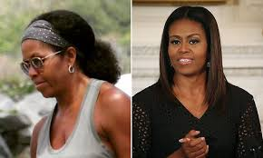 does michelle wear a wig michelle obama pictured wearing her natural hair daily mail online