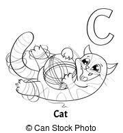 c is for cat coloring page vector clipart of funny cat coloring page cartoon coloring page