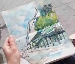 urban sketching nyc whitney museum architecture sketching