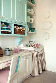 Pink Craft Room - aqua blue craft room cabinets eclectic den library office