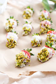 dipped strawberries yogurt dipped strawberries pistachio lemon plant based vegan option
