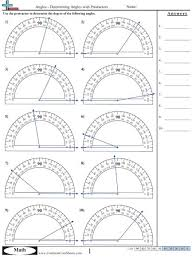 measuring angles with a protractor worksheets 4th grade on