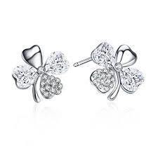 rhodium earrings sensitive ears sbling rhodium plated four leaf clover heart shaped
