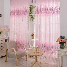 Yarn Curtains 200 100cm Pink Floral Valance Voile Curtains For Living Room