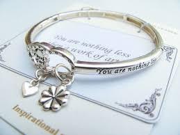 bangle bracelet charm silver images Work of art quot heart charm bracelet inspirational message JPG