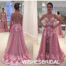 pink illusion tulle sweep train detachable skirt long sleeve a