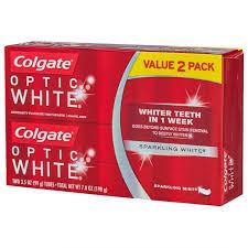 toothpaste whitening optic white sparkling mint whitening toothpaste 2pk 3 5 oz