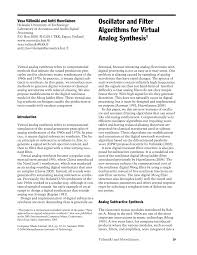 oscillator and filter algorithms for virtual analog synthesis
