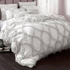 Ruffled Bed Set Grey And White Ruffled Bedding Neat Stuff Pinterest White