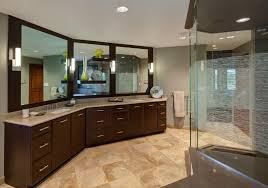 Vanity Bathroom Suite by Spacious Master Bathroom With Step Up Tub And Glass Shower