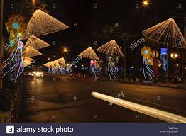 New Year Decoration Lights by New Year Decorations And Light Exhibits Nha Trang Vietnam Stock
