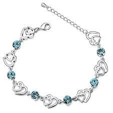 silver crystal heart bracelet images Silver crystal interlocking heart bracelet for women teenage girls jpg