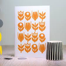 Mid Century Patterns Retro Flower Card Scandinavian Flower Greeting Card Birthday