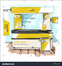 yellow exhibition stand design booth template stock vector