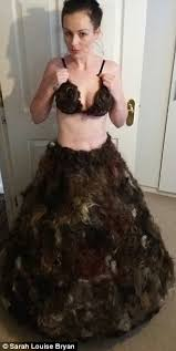 picture of dinner rolls vigina hair designer sarah louise byran who made a dress from pubic hair