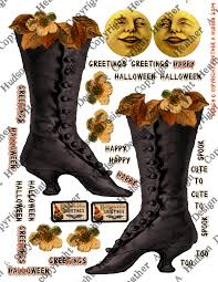 heather a hudson vintage halloween witch boot ornie