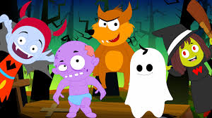 five little monsters scary rhymes halloween song youtube
