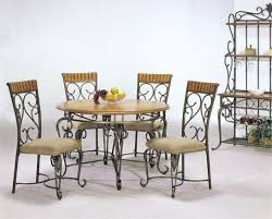 wrought iron round dining table base glass and chairs vintage room